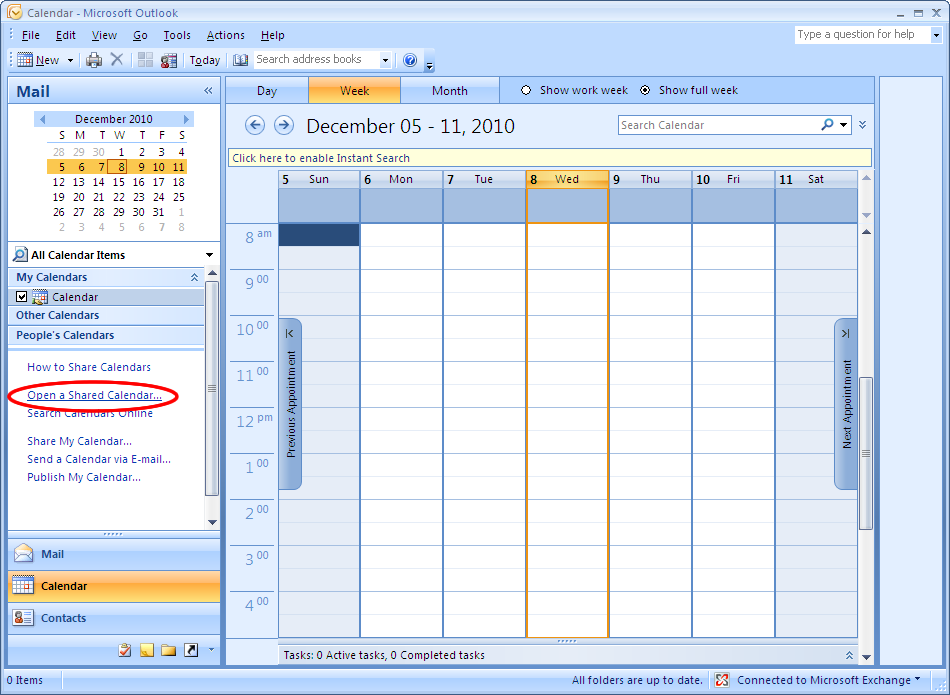 microsoft outlook 2007  connect to a shared calendar